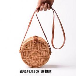 Kobieta okrągły na co dzień torebka ratanowa 2019 Ins lato torebka Handmade Bali plaża na ramię łuk torby tkane czeski torebka S