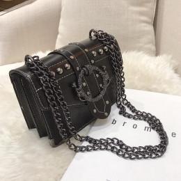 Europejska moda kobiet torba kwadratowa 2018 nowa jakość PU skórzane damskie projektant torebka nit łańcuch blokady torby liston