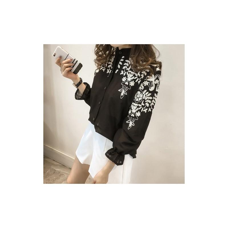 2018 moda kobiet odzież haft bluzka koszula bawełniana  15Ysm