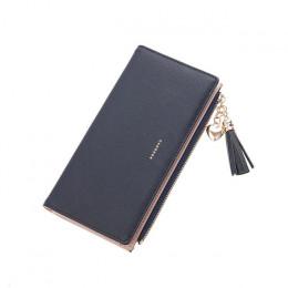 2019 portfel z frędzlami kobiety długie słodkie portfel skórzany Tassel kobiety portfele zamek Portefeuille torebka damska sprzę