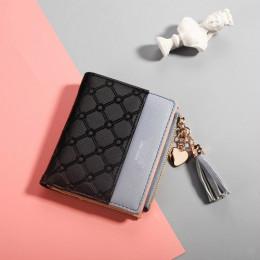 Skórzany portfel damski pojemny na zamek czarny czerwony szary modny mały jednokolorowy ozdobny