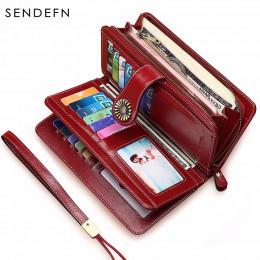 Modny skórzany elegancki duży portfel damski zapinany na suwak pojemny na karty oryginalne zapięcie z ozdobnym słonecznikiem