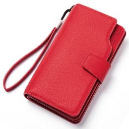 Portfel damski portfel ze skóry PU rozrywka torebka czerwony styl 3 krotnie najwyższej jakości kobiety portfele duży portmonetka