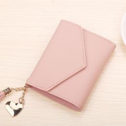 Modny portfel damski na karty kredytowe mały pormonetka różowy skórzany markowy