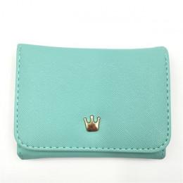 Mały skórzany portfel damski na zatrzask oryginalny pakowny wielofunkcyjny młodzieżowy dziewczęcy