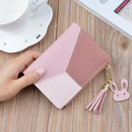 New Arrival portfel krótki kobiety portfele Zipper torebka Patchwork moda panelami portfele Trendy portmonetka posiadacz karty s