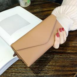 2019 moda kobiet portfele prosty zamek torebki czarny biały szary czerwony długi odcinek sprzęgła portfel miękkie portmonetka ze