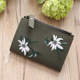 Naiwności haft portfel PU skórzane portfele kobiet kwiatowy Hasp portmonetka torba na zamek błyskawiczny posiadacze kart 30S7120