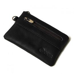 JOYIR portmonetka mężczyźni portfele z prawdziwej skóry mężczyzn portfel kobiety w stylu Vintage Slim Zipper krótki portfele z e