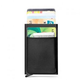 DIENQI Rfid inteligentny portfel posiadacz karty kredytowej metalowe cienkie Slim Men portfele przejść tajne pop-up minimalistyc