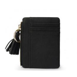 ETya Slim kobiety portfel krótki torba mała uchwyty na karty kredytowe ze skóry Pu cienkie Tassel portfele na zamek błyskawiczny