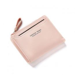 Mały kieszonkowy portfel damski na zamek na monety banknoty dokumenty skórzany bordowy czarny różowy modny