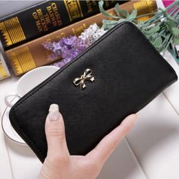 Posiadacz karty portfel panie śliczne Bowknot kobiety długi portfel czysty kolor torba sprzęgło 2019 nowy PU skórzany portfel et