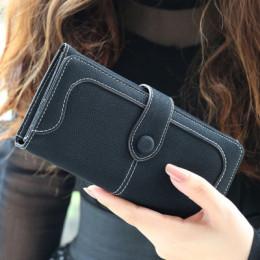Wiele wydziałów Faux Suede długie portfel kobiet matowy skórzana torebka damska wysokiej jakości damskie portfele portfel z sasz