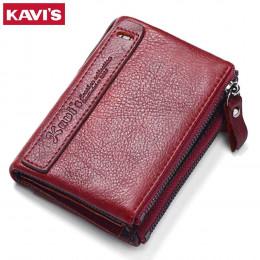 KAVIS 100% prawdziwej skóry w stylu Vintage małe kobiety portfele kobiet portfel damski z zamkiem błyskawicznym z portmonetka ki