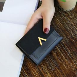 MINOFIOUS krótkie portfele damskie matowa skóra Hasp mały portfel PU skóra stałe torebki karty kredytowe pieniędzy kasetony Mini