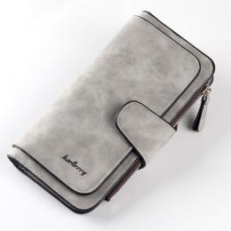 Modny elegancki portfel damski pojemny skórzany klasyczny na zamek na karty płatnicze monety banknoty mała kopertówka