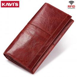 KAVIS prawdziwej skóry kobiet sprzęgła portfel i kobiet portmonetka Portomonee zacisk na torba na telefon posiadacz karty Handy