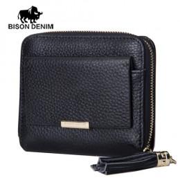 BISON DENIM 100% skórzane damskie torebka na zamek błyskawiczny monety kieszonkowy portfel posiadacz karty portmonetka damska ma