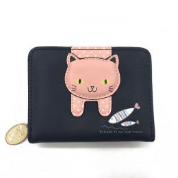 Portfel damski mały na zamek  z kotem czarny różowy niebieski zielony dziewczęcy młodzieżowy modny na prezent