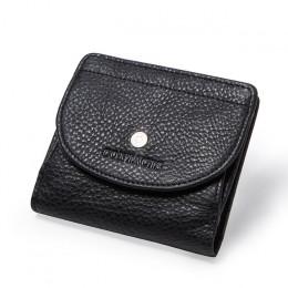 Mała klasyczna portmonetka damska skórzana uniwersalna czarna bordowa brązowa na zatrzask