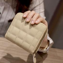 Kobiety krótkie portfele PU skóra kobiet Plaid torebki damskie posiadacz karty portfel moda kobieta mały portfel na zamek błyska