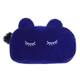 Przenośny kot kreskówka makijaż torba portmonetka podróży makijaż flanelowe etui śliczne kosmetyczka przypadki, dla kobiet dziew
