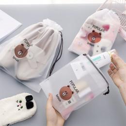Cartoon niedźwiedź przejrzyste podróży kosmetyczne torba kuferek kosmetyczny kobiet wodoodporny makijaż Beauty Wash organizator