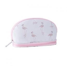 MoneRffi 2019 przenośny Flamingo kosmetyczka podwójna warstwa podróży do makijażu torby z zapięciem okrągłe kobieta makijaż tore