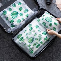 Przezroczysta kosmetyczka podróżna turystyczna do makijażu rośliny tropikalne organizer