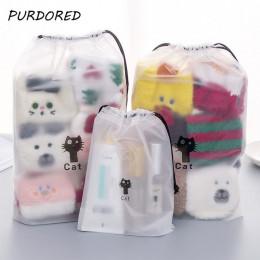 PURDORED 1 pc Cute Cat przezroczysta kosmetyczka podróży makijaż torba ze sznurkiem dla kobiet makijaż organizator pokrowiec Dro