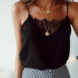 Modna klasyczna bluzeczka damska na ramiączkach z głębokim dekoltem wykończonym elegancką koronką kolor biały czarny