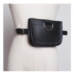 Modna elegancka skórzana torebka saszetka na pasku zapinanym w talii oryginalna kolorowa nerka czarna imitacja wężowej skóry