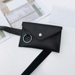 2018 Fanny Pack kobiety saszetka na pasek skóry talii torba moda damska czysty kolor pierścień PU Messenger na ramię w klatce pi