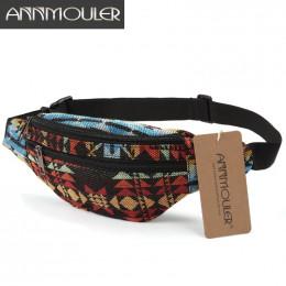Annmouler nowy kobiety Fanny paczka 8 kolory tkaniny Waist Pack czeski styl torba na biodro 2 kieszeń w pasie saszetka na pasek