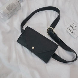 Toposhine 2018 kobiety pas biodrowy torba jednolity kolor czarny biały Khaki PU skóra mini-torba długi pas kobiet mody fala cały