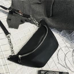 Moda łańcucha PU skóry Lychee Fanny pakiet talii torba Bananka wodoodporna antykradzieżowe kobiet do chodzenia na zakupy opaska