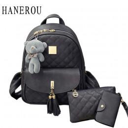 3 sztuk niedźwiedź plecak torba kobieca diament kraty szkoły torby dla dziewcząt plecaki dla kobiet 2019 nowy Tassel torby na ra