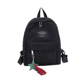 Sztruksowy plecak dwukomorowy na zamek torba na uchwyt szkolny młodzieżowy dziewczęcy chłopięcy dla nastolatków