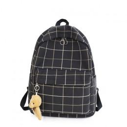 Modny wodoodporny nylonowy damski dziewczęcy plecak w kratkę szkolny podróżny na codzień