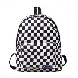 2019 Hot sprzedaż kobiety mężczyźni Unisex kraty plecak nowy Trend szachownica nastolatek torba szkolna pary plecak torba podróż
