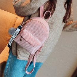 Miyahouse kobiety Mini sztruks plecak małe śliczne tornister z Fuzzy Ball panie małe torby na ramię kobiet torba podróżna Mochil