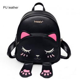 Sprytny kot plecak szkolny kobiet Pu skórzane plecaki dla nastolatek dziewcząt śmieszne koty uszy płótno torby na ramię kobiet M