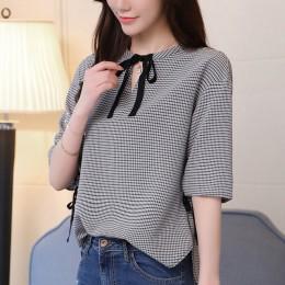 2019 moda słodki plaid kobiety bluzka koszula lato pół rękaw, dekolt v slim cienkie panie bluzki na co dzień kobiety odzież blus
