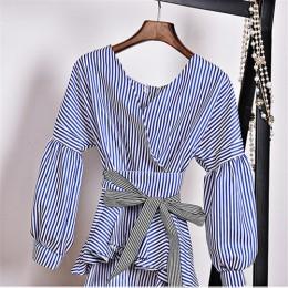 Neploe japoński wiosna moda Wąskie koszule Ruffles Lace Up z długim rękawem Blusas regulowany pas z dekoltem w kształcie litery