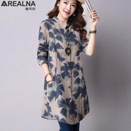 AREALNA jesień nowy mody kwiatowy Print bawełniane lniane bluzki na co dzień z długim rękawem koszula kobiety Plus rozmiar kobie