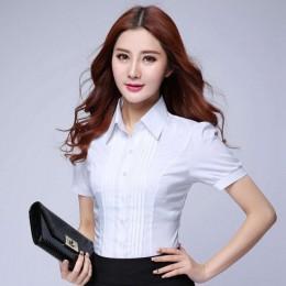 Moda formalna koszula kobiety odzież 2019 nowy Slim z długim rękawem biała bluzka elegancki OL panie biurowe Work Wear bluzka w