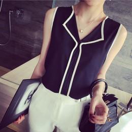 2016 lato moda damska na co dzień biały V Neck bez rękawów czarne boczne szyfonowa bluzka odzież robocza koszula kobiet topy