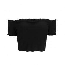 Z krótkim rękawem kobiet topy Off ramię z dzianiny 2018 wierzchnia kamizelka bluzka lato wiosna Crop topy koszula przycięte Slas