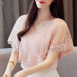 Kobiety popy i bluzki lato koronkowa bluzka koszula moda damska bluzki nowy 2018 koronki z krótkim rękawem Top Blusa Feminina 07